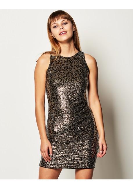 e804fc2ebe0e LYNNE ΚΑΛΛΙΘΕΑ,Αnimal print, φόρεμα, παγιέτα ,040-511038,
