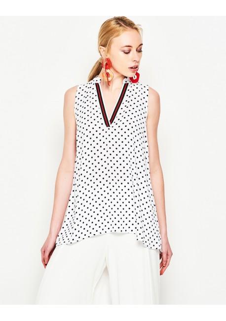 LYNNE Πουά αμάνικη μπλούζα 141-510031 f8e2abc6c47