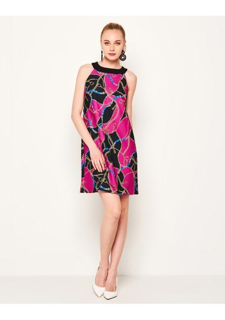 96191199c824 LYNNE Φόρεμα με halter λαιμόκοψη και τύπωμα αλυσίδα 141-511046