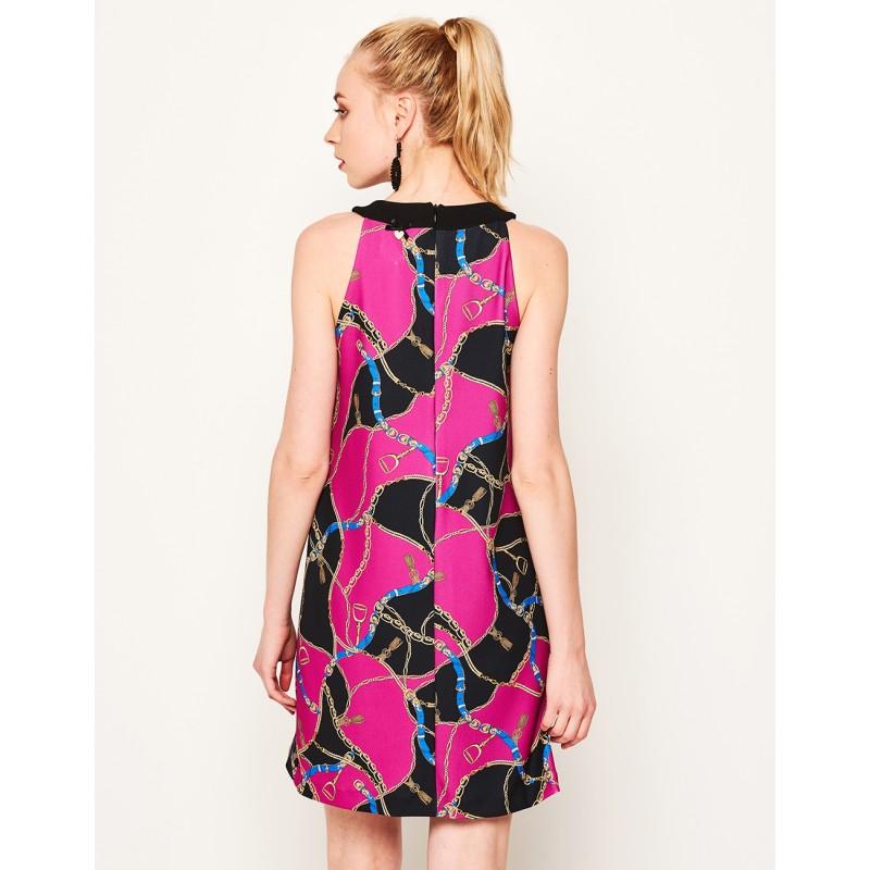 963505e128ba ... LYNNE Φόρεμα με halter λαιμόκοψη και τύπωμα αλυσίδα 141-511046 ...